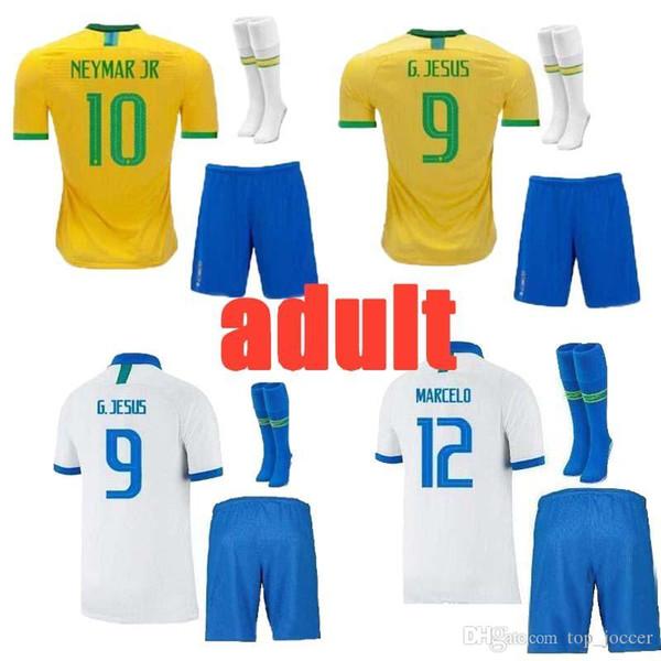 2019 camisa de futebol do brasil 19 20 camisa de futebol copa américa brasil camiseta de COUTINHO FIRMINO homem kit futebol conjunto completo