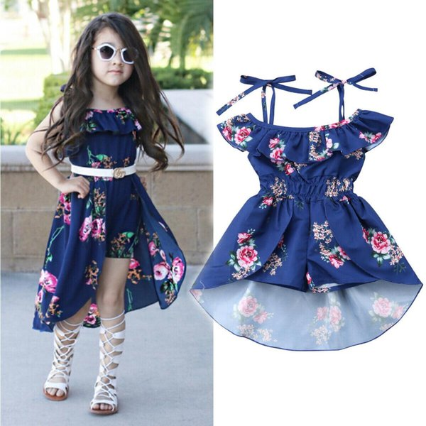 Toddler Kid Baby Girls Pretty Romper Dress Ruffles Sleeve Off Shoulder Flowers Print Jumpsuits Dress