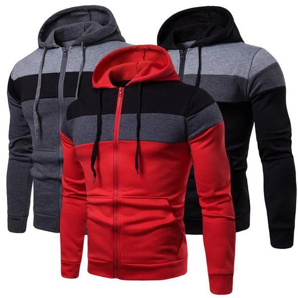 Casual Slim Long Sleeve Zipper Hoodies Plus Size 3XL Men Three-Color Stitching Tops New Warm Pocket Patchwork Sweatshirt Jackets