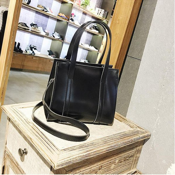 Pure Color Handbag Vintage Oilskin Single-Shoulder Bags Simple Atmosphere Bags Winter New Fashion Ladies CGS12172