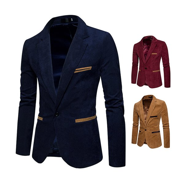 Moda Masculina Blazer Slim Fit Casuais Ternos Casaco Jaqueta Único Botão Cáqui Da Marinha Vinho Vermelho Jaquetas C7