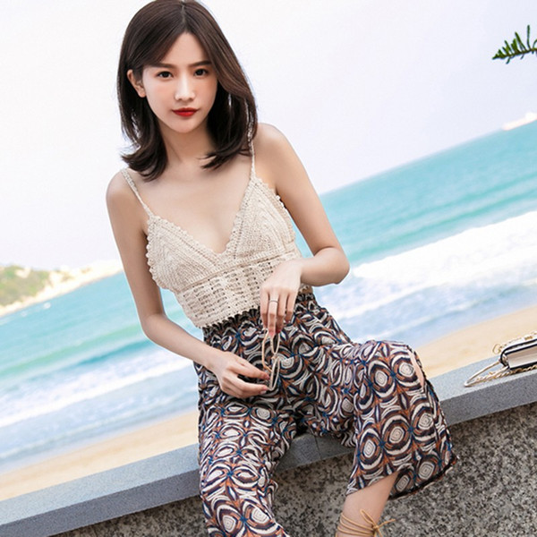 National Style Beach Knitted Sexy V-neck Slim Camisole Tops For Women Female Stretchy Sling Bottoming Vest