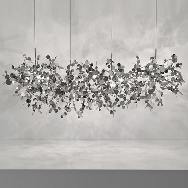 terzani argent éclairage fait à la main en acier inoxydable lampe lustre feuille pour salon / chambre maison
