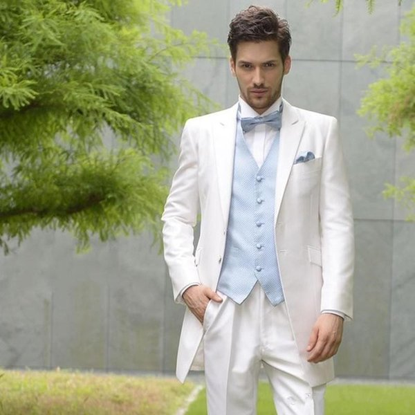New White Wedding Men Suits Groom Wear Tuxedos 2 Pieces (Jacket+Pants+Vest) Bridegroom Suits Best Man Prom Business Blazer 74