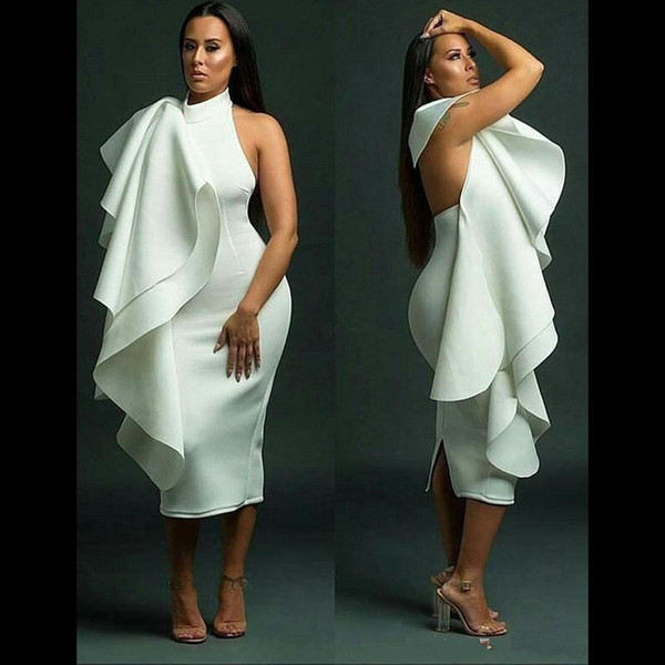 Sexy White Short Plus Size Cocktail Dresses Jewel Neck Cascading Ruffles Tea Length Back Split Backless Formal Party Cheap Dress