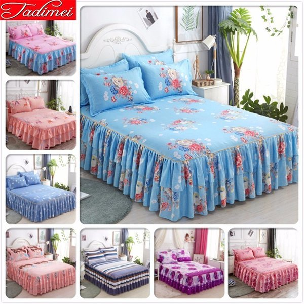 Flower Pattern Blue Bed Skirts Adult Kid Girl Princess Bed Cover Linen Single Twin Full Queen King Size Bedspread Sheet Bedskirt