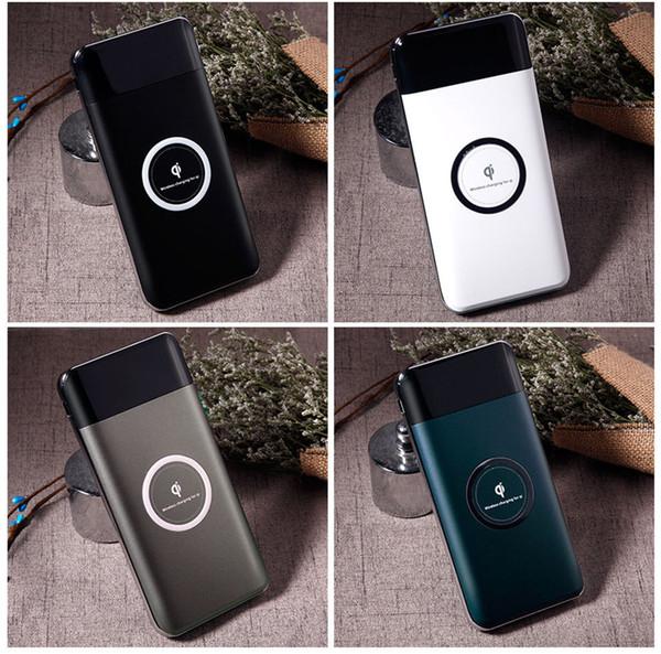 2U беспроводной банк силы высокой емкости 10000mAh корпус Цифровой дисплей батареи 2 в 1 портативный Мобильный блок питания универсальный Ци банка зарядное устройство питания