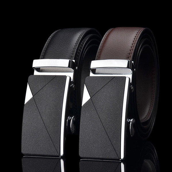 Fashion Mens Luxury Automatic Buckle Belts White Solid Strap Male Genuine Leather Jeans Cinturones Hombre Casual Waistband