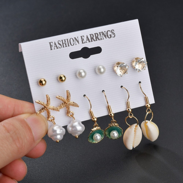 Alloy Shell Earrings Heart-shaped Pearl Rhinestone Earring 6 Paper Suit Ear Nail pearl earrings, piercing,Pandora charms,summer sundress women,shell jewelry,abalone shell jewelry,sea shell jewelry,shell jewelry set,shell jewelry diy,cowrie shell jewelry,conch shell jewelry,women shell jewelry sets