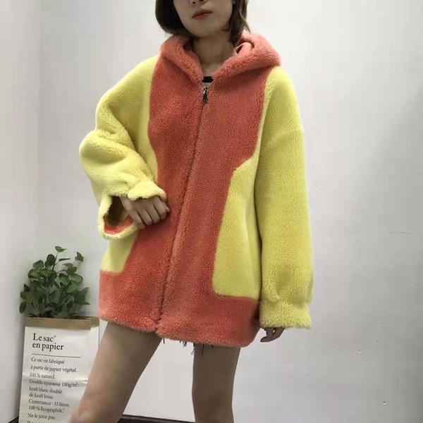 Koyun kürk kapüşonlu ceket süet deri astar gerçek fiyat kadın giyim kış 2019 M mektup desen abrigo mujer yün karışımları