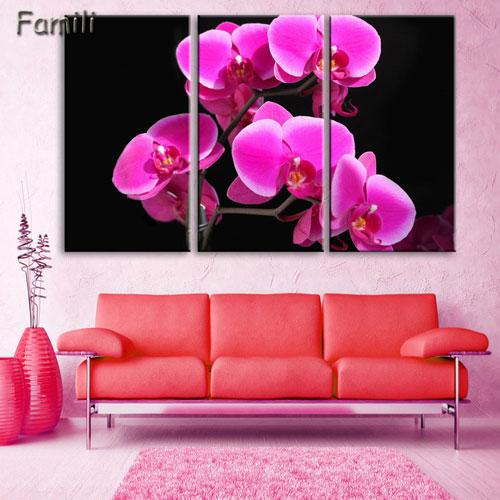 3pcs Hot Sell Modern Painting Purple Orchid Home Decor Canvas Painting Flowers Wall Pictures For Living Room Modular Pictures