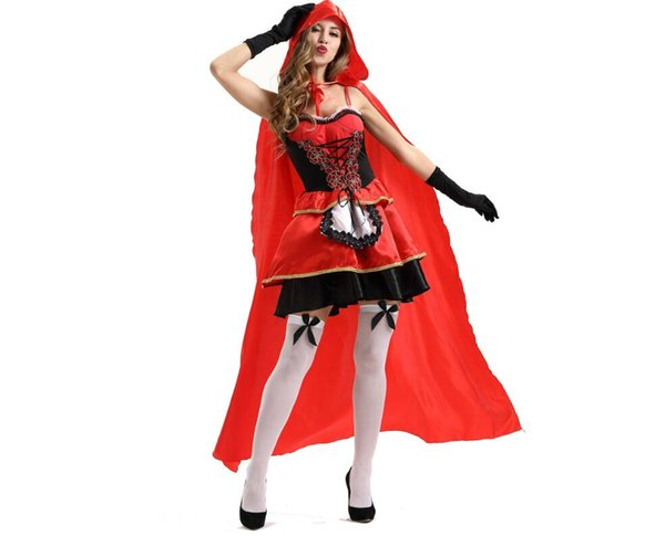 XL Spiel Uniform Cosplay europäischen und amerikanischen Damen Halloween sexy Mantel Queen Rotkäppchen Kostüm