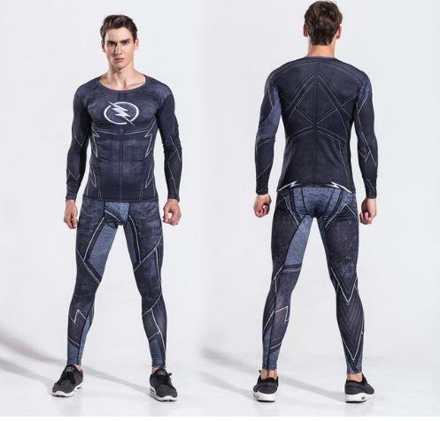 Winter Soldier Mens Two Piece Set Tracksuit Long Sleeve Crossfit T-shirt Male Fitness Legging Outfit Compression Suits