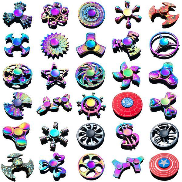 Fidget Spinner Toys Новейшие 120 моделей Tri-Fidget Metal Красочные EDC Гироскоп Супергерой Дракон Радуга ручные прядильщики палец игрушка