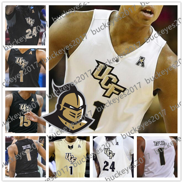 Custom UCF Knights Any Name Number Gold White Black 1 BJ Taylor 15 Aubrey Dawkins 24 Tacko Fall Collin Smith College Basketball Jersey
