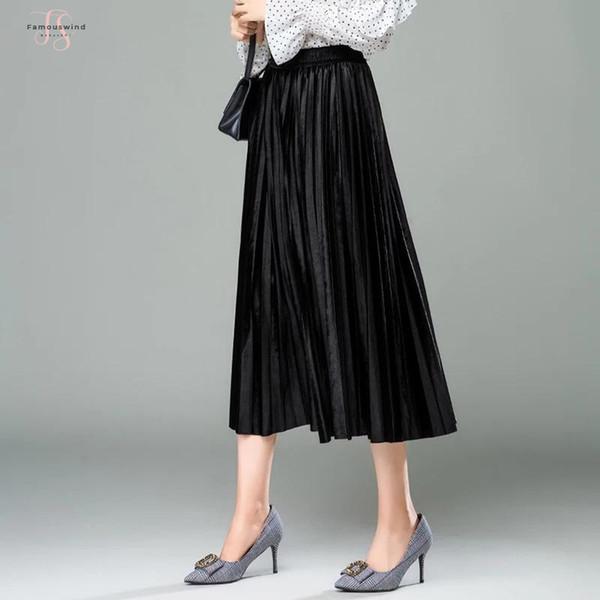 Vintage Pink Khaki Coffee Brown Blue Gothic Black Army Skirts Elastic Waist Spring Velvet Green Women Long Pleated Skirt