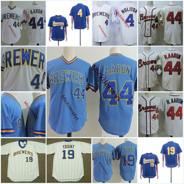 best selling Mens 1981 #4 PAUL MOLITOR Jerseys Stitched Blue Pullover 44 Hank Aaron #19 ROBIN YOUNT Jersey S-3XL