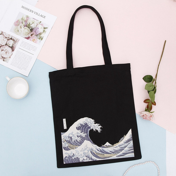 Fashion Cotton Grocery Tote Shopping Bags Folding Shopping Cart Eco Grab Reusable Bag With Sea Wave Print