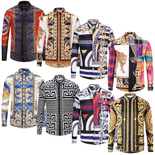 2019 estilo clássico Italiano Medusa Camisa De polo Floral Imprimir Cores Casual Harajuku Camisa Dos Homens de Manga Comprida Medusa Camisa # dg