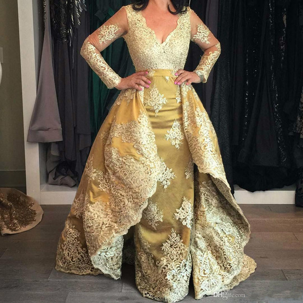 Unique Gold Overskirts Prom Dresses With Full Sleeve V Neck Appliques Lace Formal Dresses Evening Wear Elegant Long Prom Gown For Women 2019