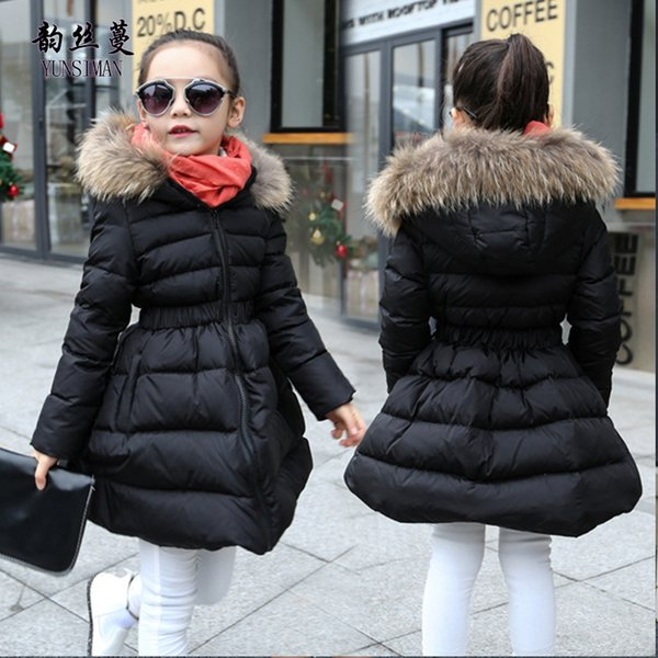 Children Winter Coat for Girls 4 6 8 10 to 12 Years Long Sleeve New Black Red Hooded Cotton-padded Jacket Kids Clothing 12R16A