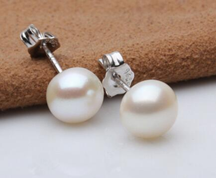 lovers women good Wholesale price 16new Fashion 6-7MM 925 Sterling Silver Freshwater White Akoya Pearl Hook Earring