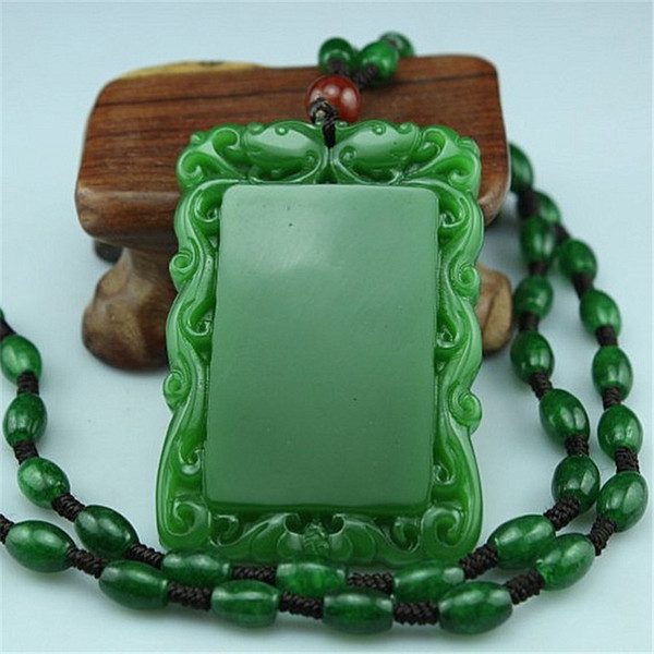 Free shipping Hetian Biyu Carved Peace Pendant Peaceful Nothing Pendant Necklace Jade Necklace