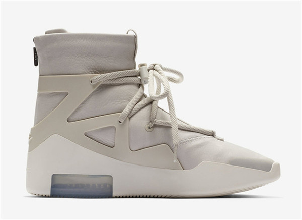 2018 Authentic Air Fear of God 1 Boots Light Bone Grey Black Zoom 1S Men Basketball Shoes AR4237-001 AR4237-002 Running Shoes Size 7-13