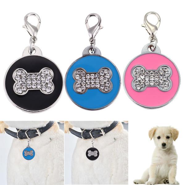 Etiquetas personalizadas del perro del gato del animal doméstico Etiquetas en forma de hueso Grabado Perros Tarjetas de identificación Collar de perro de cristal colgantes para perros gatos Gatito
