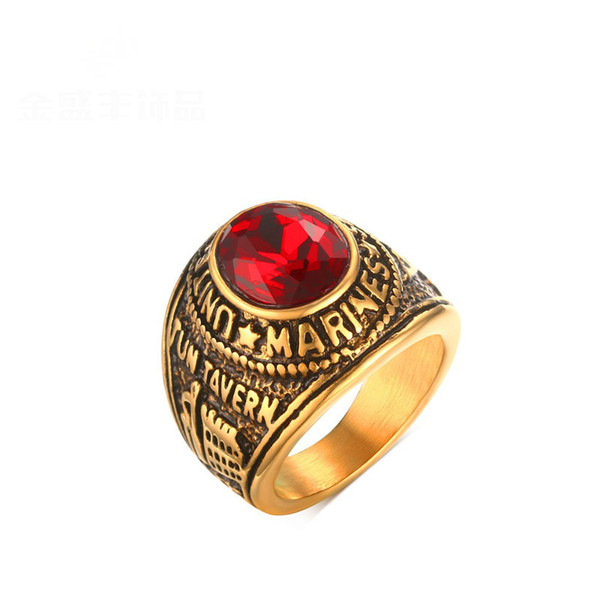 Fashion Punk Men Rings United State Marines Rings Stainless Steel Ring With Red Crystal Gold Plated Ring Luxury Jewlery For Men