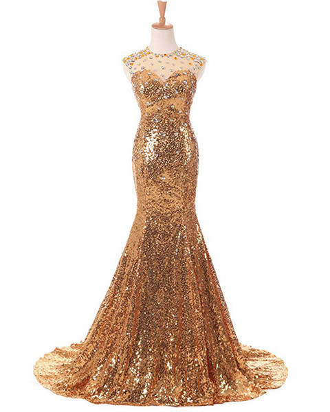 Gold Sequins Mermaid O-Neck Evening Formal Dress Beaded Crystal Evening Gowns Long Party Dresses abiye elbise