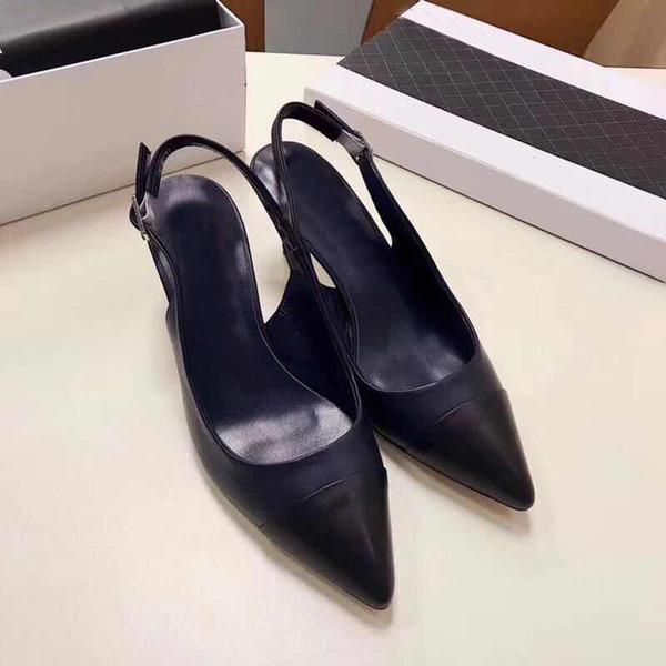 Yeni Ince Yüksek topuklu ayakkabılar Otantik yumuşak inek derisi bayan ayakkabıları Toka tasarımcının Klasik Marka Sandalet Resmi Sivri sandalet