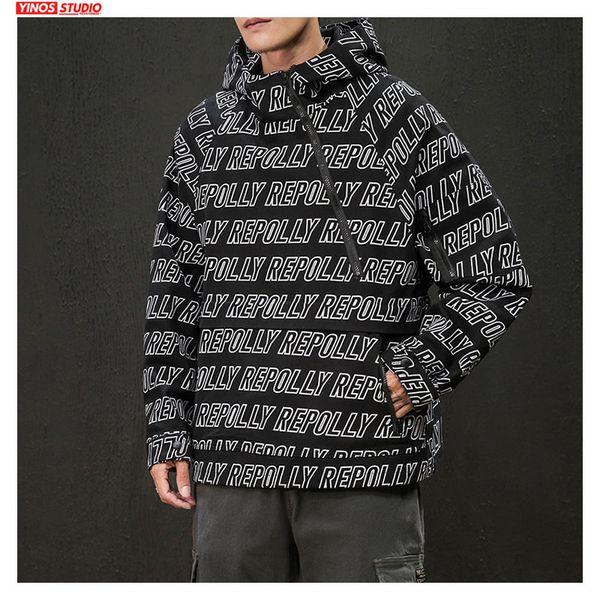Dropshipping hombres Streetwear Letter Print sudaderas Tops 2019 de otoño con capucha para hombre de algodón ocasional de la camiseta del bolsillo masculino Pullover