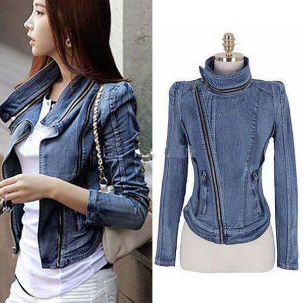 Fashion-Womens Vintage Denim Jean Slim Fit Lapel Zip Short Jacket Tops Coat Size S M L designer jeans jacket outdoor jacket