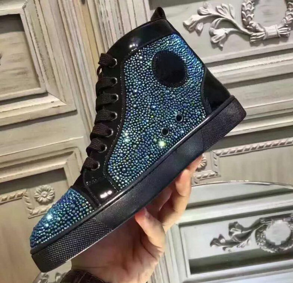 2019 люкс высокого качества дизайнер обуви мужчина женщина красных днища Спайка Flat No Limit кроссовки мода Италия модельной обувь размер 35-47