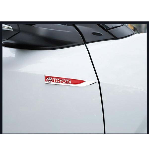 2 pcs decoração do corpo do carro de metal adesivos lado padrão decoração exterior para toyota c-hr