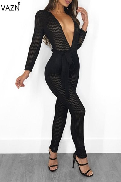 VAZN Fashion Hot 2018 Sexy Solid Deep V-Neck Lace Up Jumpsuits Women Full Sleeve See Through Bodycon Lady Jumpsuits OSM3243