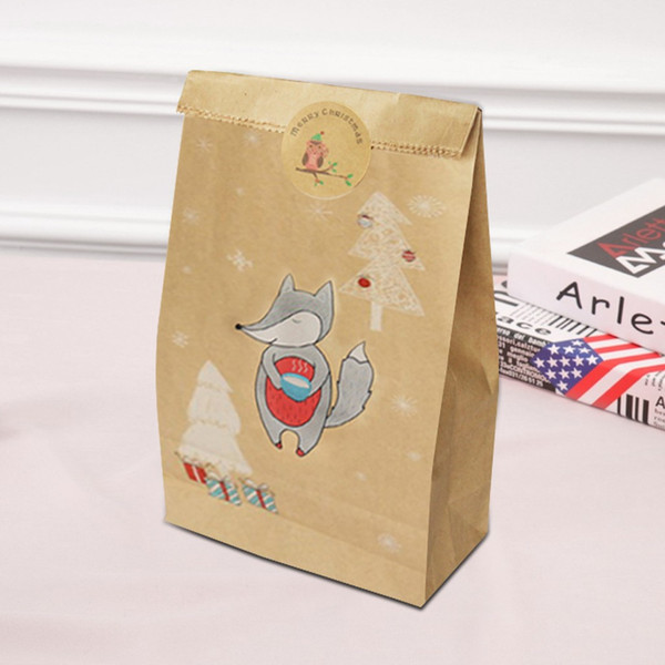 Foxes Christmas Gift Package Packing bags christmas tree sticker Candy navidad decor xmas Stickers Kraft Paper Bag 2020