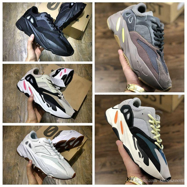 buy popular 0d823 4c548 2019 【with Box】2019 New Boost Yeezys 2019 700 Wave Runner Mauve EE9614 Wave  Running Shoes Men Women Black White Blue Grey Sports 700s Yeezy Kanye ...