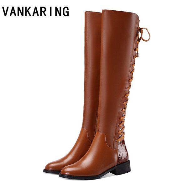 VANKARING brand women boots genuine leather+PU autumn winter boots woman black shoes high quality leather knee high riding