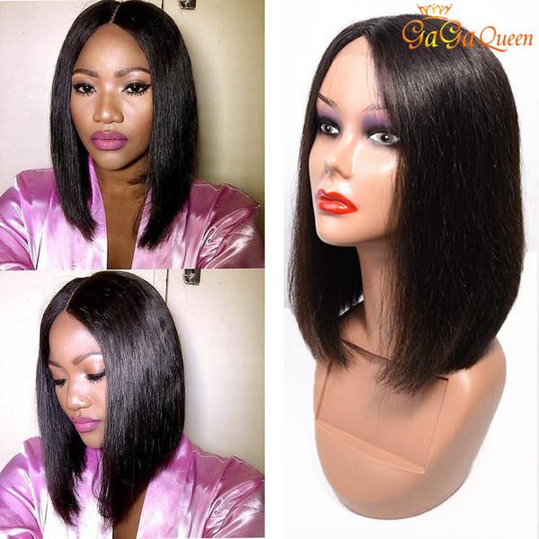 150% Yoğunluk Düz Bob İnsan Saç 4x4 Dantel Peruk Doğa renk Dantel Frontal Peruk Perulu Düz Saç Bob Peruk Gaga kraliçe