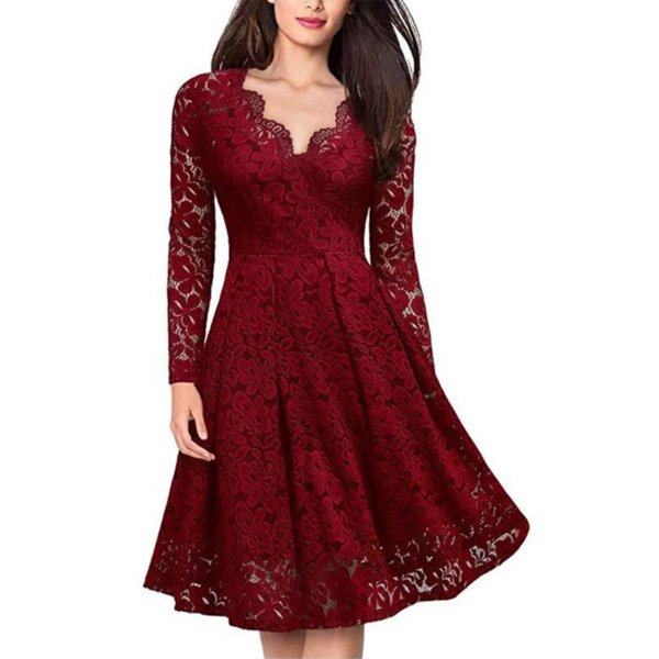 8e0be241fa casual knee length skater dress Coupons - Summer Women Dress Sexy V Neck  Floral Lace Evening