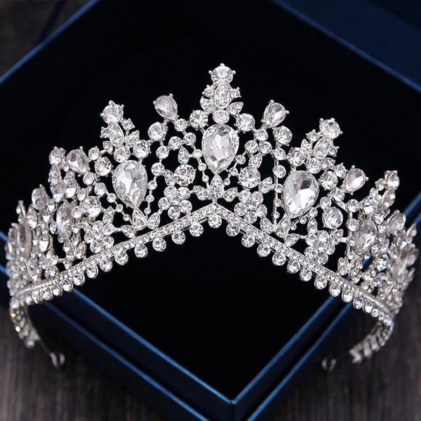 92463f6f59e2 Роскошный горный хрусталь свадебные диадемы Корона барокко полный Кристалл  диадема для невесты повязки свадебные украшения для волос платье аксессуары  ...