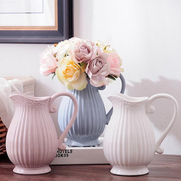 Boda de cerámica decorativa moderna moderna del florero de cerámica blanca Una flor artificial Vase Inicio de Navidad Año Nuevo Decoración SH190925