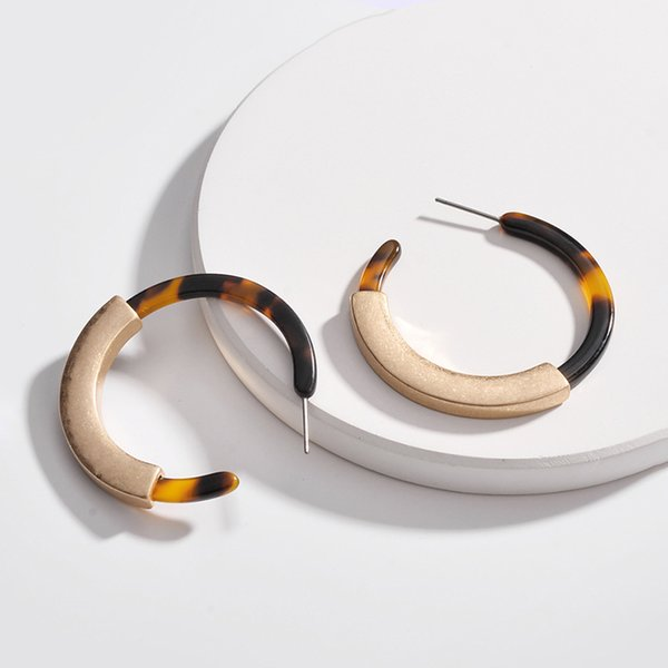 Vintage Punk Round Circle Tortoiseshell Acrylic Hoop Earrings For Female Party Gifts Acetic Acid Leopard Print Resin Geometric