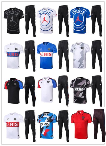 top popular 2020 2021 PSG Short sleeve polo + pants soccer training suit Survetement 20 21 Paris Jordam X football mbappe tracksuit 2020