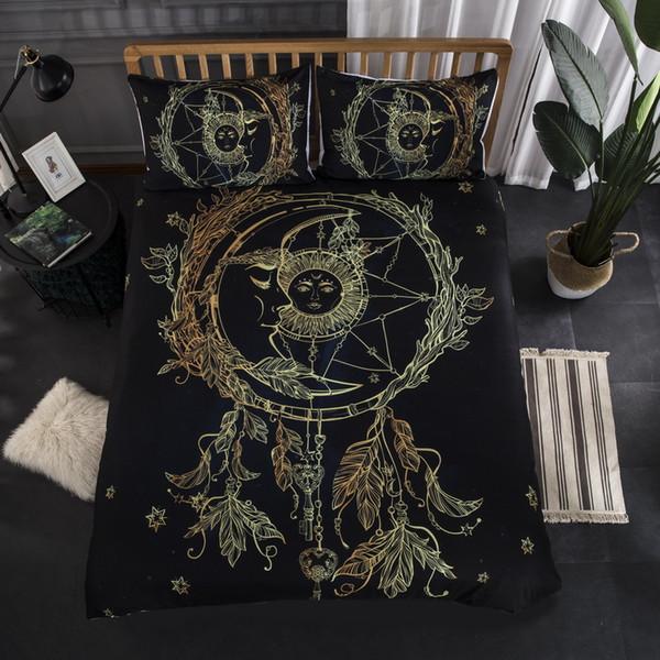Post gold 3D Digital Printed Bedding Set Duvet Cover Design Bedclothes Home Textiles Bed Sheet Pillowcases Cover Set 3pcs be1320