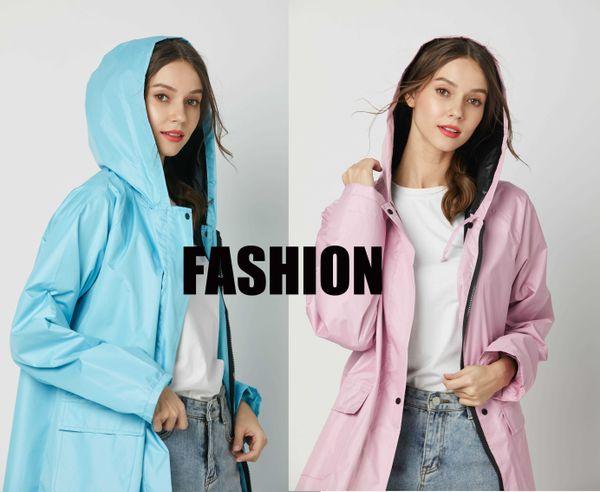 Kadınlar Panço Uzun Rainwear yağmurluk Moda Kız Lady Kapşonlu Yağmurluk Açık Seyahat Su geçirmez Binme Bezi Yağmur Coat