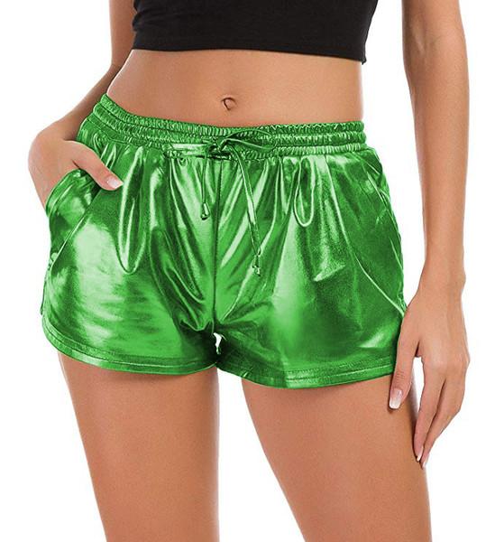 Mulheres Verão Quente Shorts Cor Brilhante Cor de Ouro Designer Shorts Feminino Praia Curta Vestidos