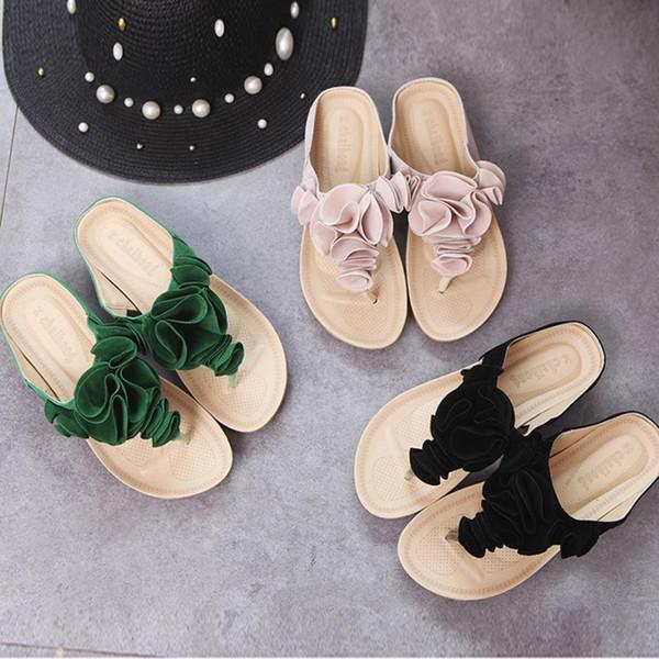 Sommer-Flipflops der heißen Verkaufs-Frauen reizvolle Strand-Schuh-Damen beiläufige flache Schuh-Dame Pretty Floral Sandals Female Elegant Slides